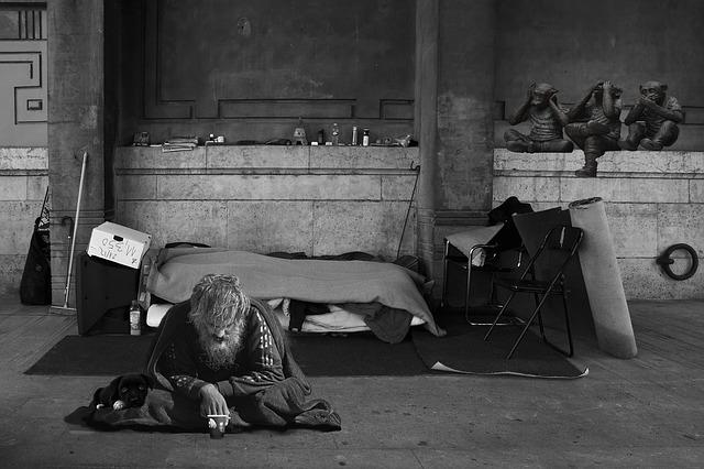 opice a bezdomovec